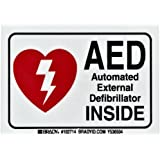 """Brady 102714 3-1/2"""" Width x 5"""" Height B-302 Polyester, Red and Black on White AED Label, Legend """"AED Automated External Defibrillator"""""""