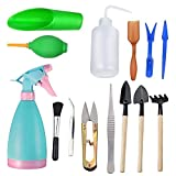 sincerely gift 14Pcs Mini Garden Tools Set,Succulent Transplanting Miniature Fairy Garden Planting Gardening Hand Tools Set Include Pruner, Mini Rake, transplanters etc(Color Random)