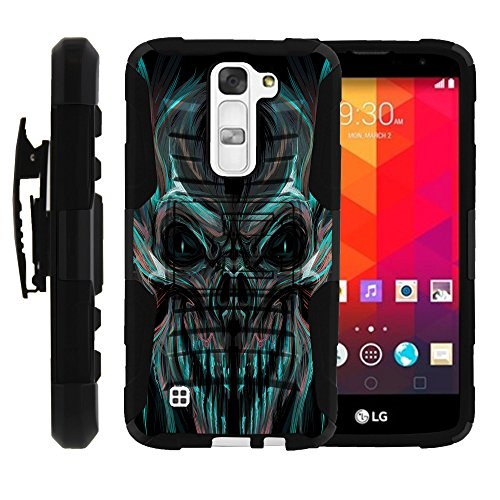MINITURTLE Case Compatible w/LG K7 Case | Tribute 5 Cover, LG Treasure Case, Full Phone Protection Dual Layer Belt Clip Holster Case Skull and Bones Blue and Red Skull (Camo Case Blue Lg Tribute Phone)