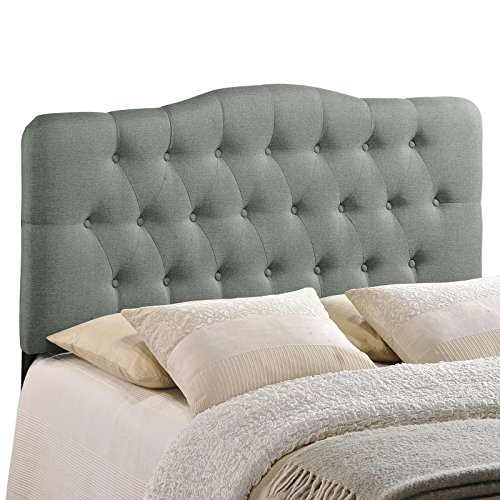 Modway Annabel Tufted Button Linen Fabric Upholstered Full Headboard in Gray