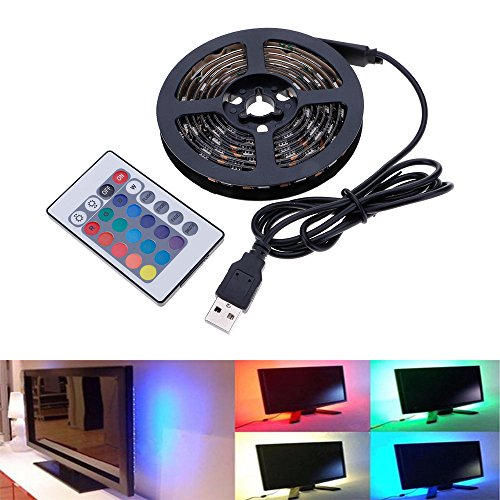HuntGold TV Backlighting Bias Light USB Powered RGB 5050SMD 60LED Flexible Color Changing Strip Light with 24Key Remote Control for Flat Screen TV Desktop PC Laptop(0.5m)