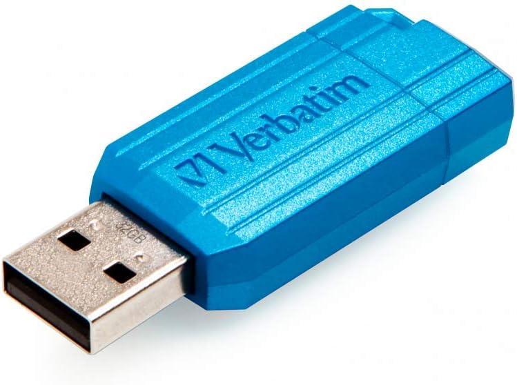 Blue Verbatim 32GB Pinstripe USB2.0 Flash Drive