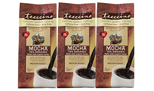 Teeccino Mocha Chicory Herbal Coffee Alternative, Caffeine Free, Acid Free, Coffee Substitute, Prebiotic, 11 Ounce (Pack of 3)