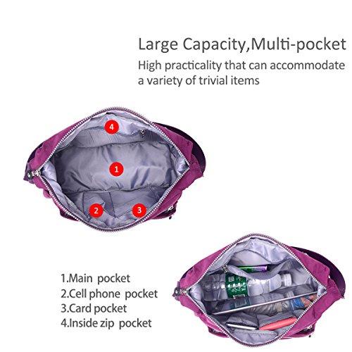 Shoulder Nylon Messenger Doris amp; Shoulder Light Nicole Purple Dark Handbags Crossbody Waterproof Purple wqRCxx8