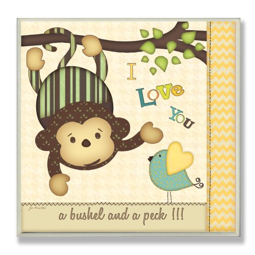 The Kids Room by Stupell I Love You a Bushel and a Peck with Monkey Square Wall Plaque by The Kids Room by Stupell