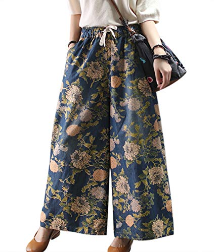 (YESNO Women Casual Loose Wide Leg Cropped Denim Pants Floral Printed Elastic Waist Jeans/Pockets PLM)
