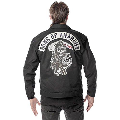 Sons of Anarchy Men's Printed Unlined Mechanic Jacket, Bl...