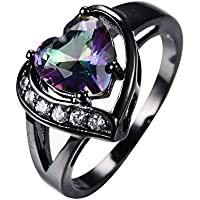Mystic Heart Shaped Rainbow Topaz Engagement Ring 10KT Black Gold Filled Sz 4-12#by pimchanok shop (12)