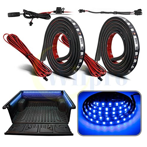 "Wiipro Truck Bed Lights Strip 2PCS 60"" Waterproof Cargo Unloading LED Lighting Bar with Switch Fuse Splitter Cable for Pickup Truck Ford Dodge RV Vans Camper Boat Blue"