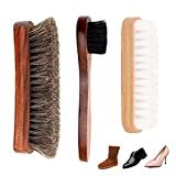 Dpowro Pack of 3 Shoe Shine Brush Kit with Shoe Dauber, Soft Horsehair Bristles for Shoes, Leather Cloth, Bags(Brown)