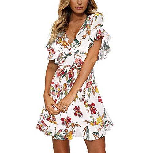 Fashionme Casual Ruffled Sleeve Asymmetric Cross V-Neck Dress Floral Print Short Mini Summer Dress for Women (White, M) (White Chiffon Short Dress)