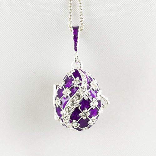 Purple Locket w Guardian Angel Sterling Silver Necklace w Crystals Protective Jewelry Enameled Egg Pendant for Her