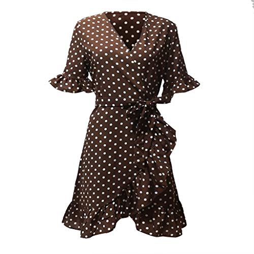 Susun Summer Popular Style Unique Women Skirt Fashion Dot Printed V-Neck Short Sleeve Bandage Butterfly Sleeve Dress Brown