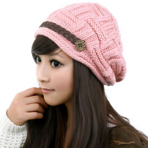 LOCOMO Women Cabled Checker Pattern Knit Beanie Hat Cap Button Strap FFH080PNK