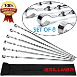 BBQ Barbecue Skewers Stainless Steel Long 23 Inch Set of 8 Piece Heavy Duty Large Wide Grilling Reusable Kabob Sticks with NonSlip Ring Handle Ideal for Shish Kebab Chicken Shrimp and Vegetables