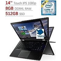 Newest Lenovo Flex 4 Touchscreen 14'' Full HD IPS 2-in-1 Laptop PC, Intel Core i7-7500U 2.7GHz, 8GB DDR4 SDRAM, 512GB SSD, Backlit Keyboard, Fingerprint Reader, Bluetooth, HDMI, Windows 10