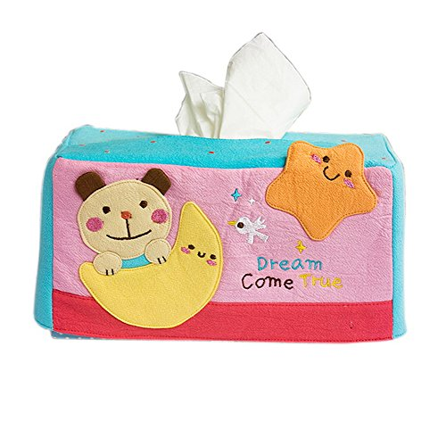 [Bear & Moon] Embroidered Applique Fabric Art Tissue Box Cover Holder (8.7*4.5*4.5)