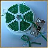 3pcs 65ft (20m) Green Plastic Twist Tie Roll with Cutter - Flat
