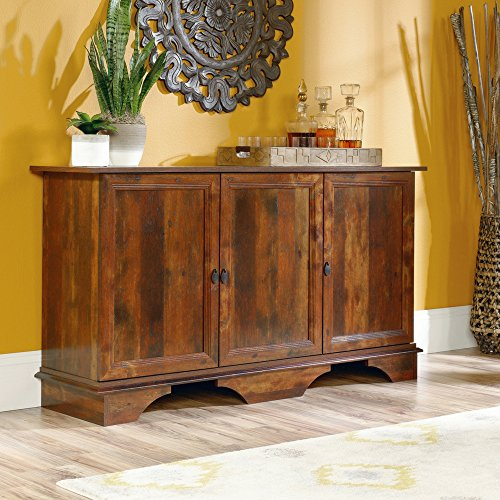 Arts And Crafts Sideboard (BS Dining Room Server Cabinet with Storage Rustic Buffet Chest Organizer 3 Adjustable Shelves Bedroom Combo Dresser Accent Cabinet Entryway Living Room Office Aged Cherry Finish & eBook by BADA shop)