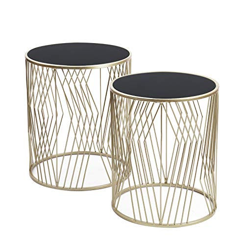 Adeco FT0257-silver Decorative Nesting Round Side Accent Plant Stand Chair for Bedroom, Living Room and Patio, Set of 2 End Tables Champagne Silver, Black Glass