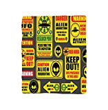 Kisscase Custom Blanket Outer Space Warning Ufo Signs with Alien Faces Heads Galactic Paranormal Activity Design Bedroom Living Room Dorm Yellow