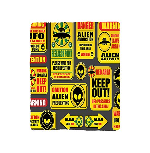 Kisscase Custom Blanket Outer Space Warning Ufo Signs with Alien Faces Heads Galactic Paranormal Activity Design Bedroom Living Room Dorm Yellow by kisscase