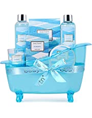 Gift Baskets for Women, 7 Piece Bath Set Scented with Ocean, Body & Earth Home Spa Kit, Contains Bubble Bath, Shower Gel, Bath Salt, Body Lotion and More, Skin Care Set for Women Gift Ideas, Perfect Birthday & Anniversary Gifts Set