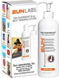 Tan Overnight Self Tanning Lotion 8 fl oz - Medium To Dark Tan for Body and Face, Organic and Natural Ingredients May Be Sun Labs Best Self Tanner.Instant Drying Tan