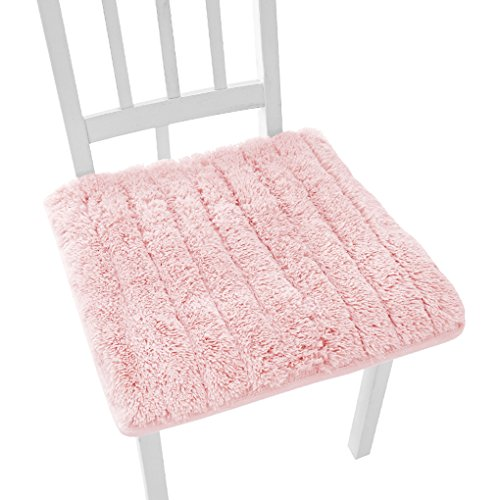 Pink Chair Pad - Super Soft Plush Chair Cushion with Tie Winter Warm Chair Pads Home Dining Chair Decorative Anti-skid Seat Pad Cover Cushion Mat for Office Home Kitchen Garden Dorm Cafe Bar 45x45cm
