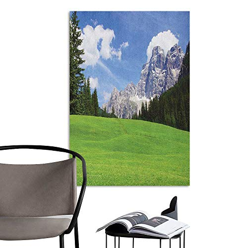 (Art Decor 3D Wall Mural Wallpaper Stickers Nature Picturesque Mountain with Rural Road View of Italian Old Country Modern Print Blue Evergreen 3D Decorative Sticker W16 x)