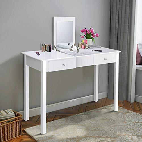 Dresser Mahogany N Mirror - n-bright Desk Vanity Mirror Classic Dressing Table Flip Top Drawers Furniture White