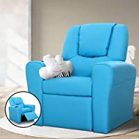 Kids Children Vinyl PU Leather Manual Recliner Lounge Chair Sofa Armchair Seat with Cup Holder (Blue)