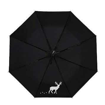 GZ Paraguas Negro de Ciervos Sombrilla soleada Paraguas ...