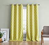 2 panel yellow curtains - HLC.ME Lattice Print Thermal Insulated Room Darkening Blackout Window Curtain Panels for Living Room - Set of 2 - 37