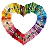 Tinksky 150 Skeins of 8M Multi-color Soft Cotton Cross Stitch Embroidery ...