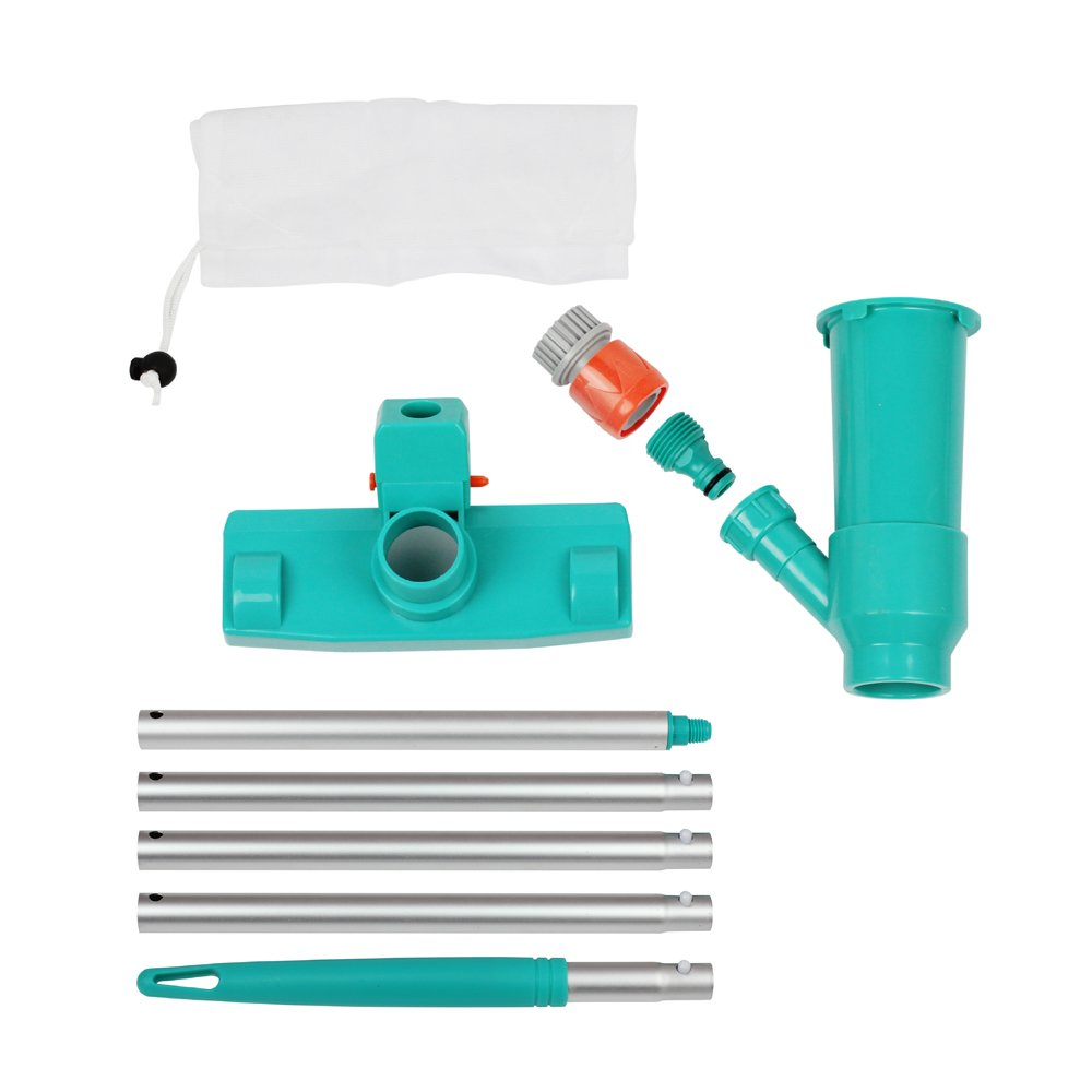 POOLWHALE Portable Pool Vacuum Jet Underwater Cleaner W/Brush,Bag,4 Section Pole of 48''(No Garden Hose Included),For Above Ground Pool,Spas,Ponds & Fountains