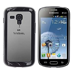 YOYOYO Smartphone Protección Defender Duro Negro Funda Imagen Diseño Carcasa Tapa Case Skin Cover Para Samsung Galaxy S Duos S7562 - estoy oscuro y profundo roto deprimido triste