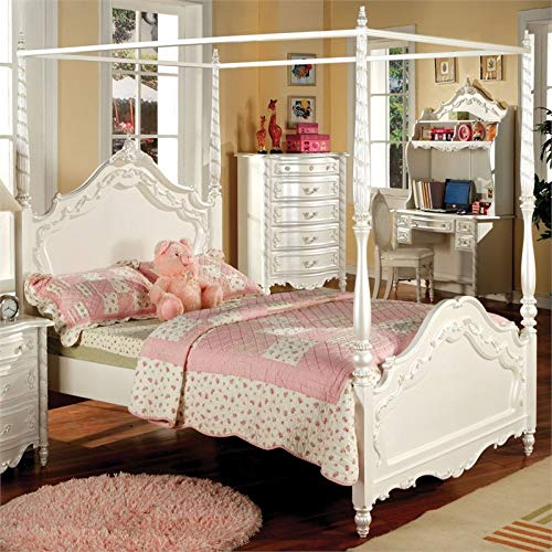 Furniture of America Exandria Princess Style Canopy Bed, Full, Pearl White Finish (Baroque White Headboard)