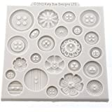 """Buttons 4"""" x 4"""" - Silicone Design Mat for Cake Decorating, Cupcakes, Sugarcraft and Candies"""