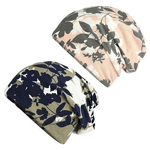 HONENNA Flower Printed Cotton Beanie Women Turban Headband Chemo Cap (2 Pack Set 12) (Women Chemo Hats)