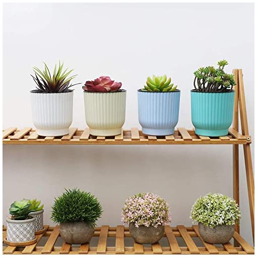 Large Size T4U Plastic Self Watering Planter Set of 6,White Long Term Water Storage Plant Pot//Macaron-Colored Flower Pots Outdoor Indoor Yard Garden Home Decoration