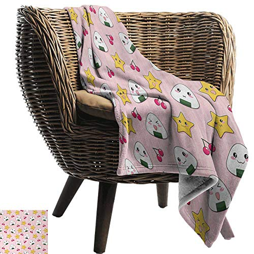 - AndyTours Ultra Soft Flannel Blanket,Anime,Happy Crying Cute Cartoon Rice Balls Cherries Stars Pattern on Stripes Art,Pink Yellow and White,Lightweight Microfiber,All Season for Couch or Bed 50