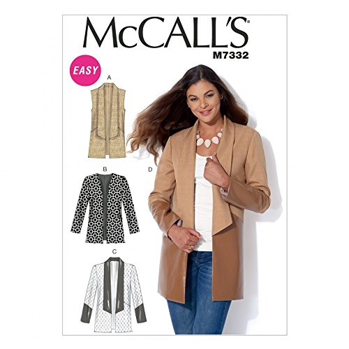 - McCalls Ladies Easy Sewing Pattern 7332 Open Front Waistcoat & Jackets