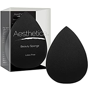 Aesthetica Cosmetics Beauty Sponge Blender - Latex Free and Vegan Makeup Sponge - For Powder, Cream or Liquid Application - One Piece