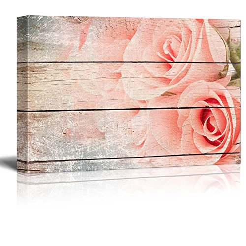wall26 Pink Roses in a Bouquet - Rustic Floral Arrangements - Pastels Colorful Beautiful - Wood Grain Antique - Canvas Art Home Decor - 24x36 inches