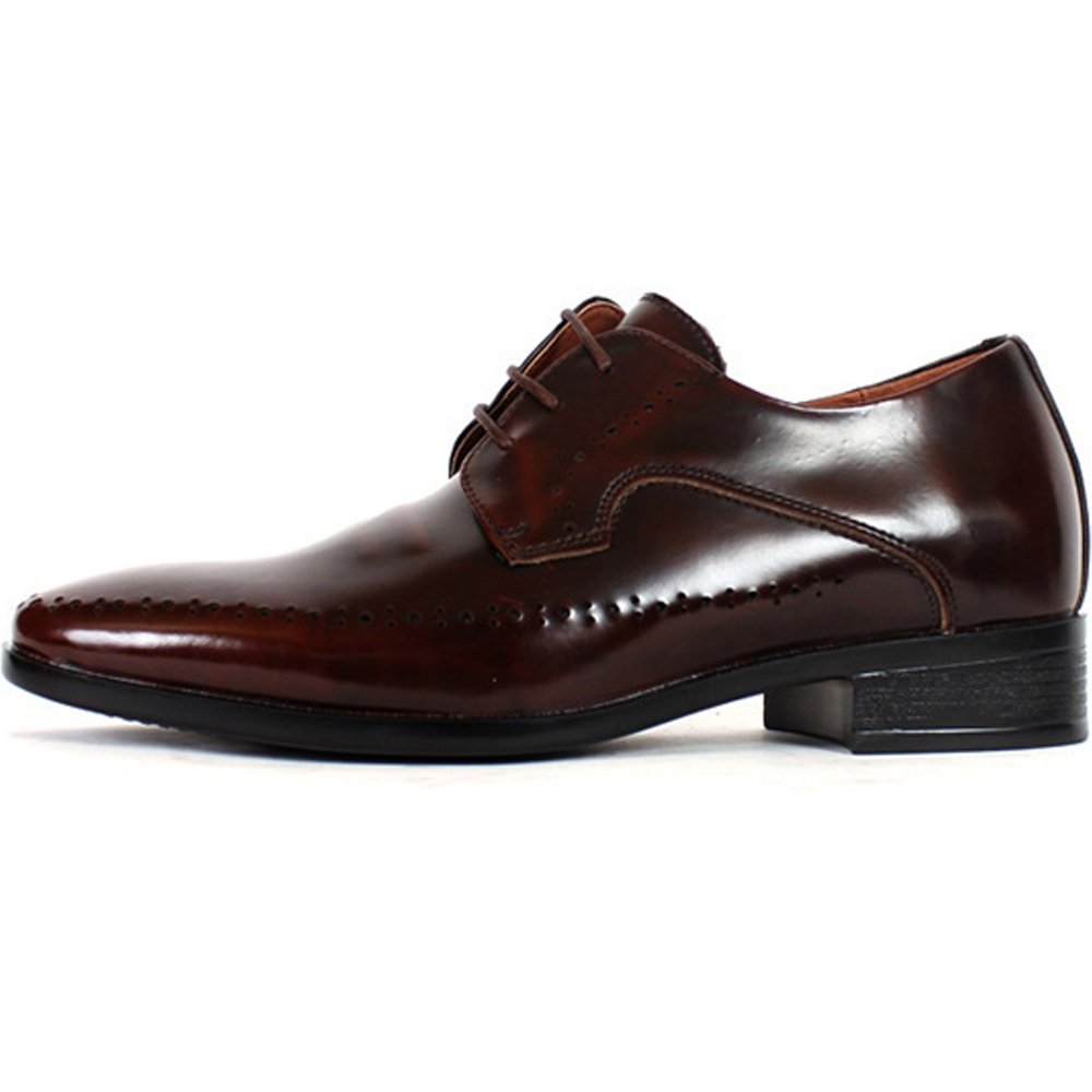 JustOneStyle New Mens Elevator Taller Height Incresing Dress Formal Leather Shoes Wine