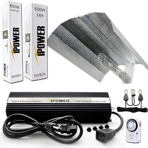 iPower 600W HPS MH Bulbs Wing Reflector Hood Set 600 Watt Digital Dimmable Ballast Grow Light System Kits for Indoor Plants with - Reflector Kit