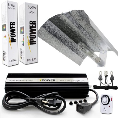 Grow Light System Hps (iPower 600 Watt HPS MH Digital Dimmable Grow Light System Kits Wing Reflector Set with Timer)