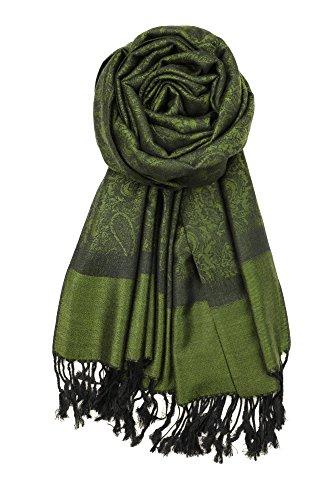 (Achillea Two Tone Vintage Jacquard Paisley Pashmina Shawl Wrap Scarf (Dark Green))