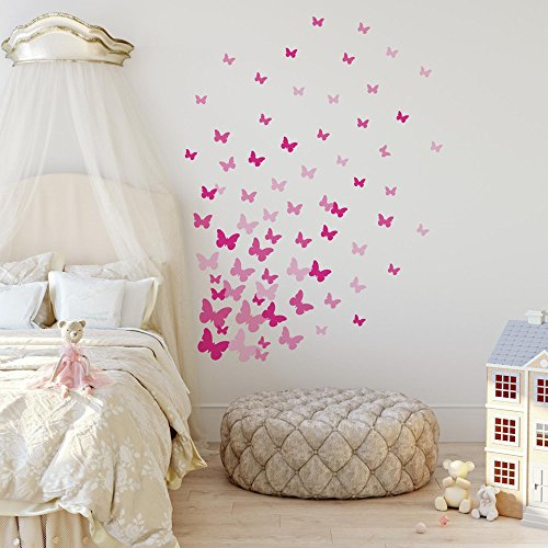 RoomMates RMK2713SCS Pink Flutter Butterflies Peel and Stick Wall Decals by RoomMates